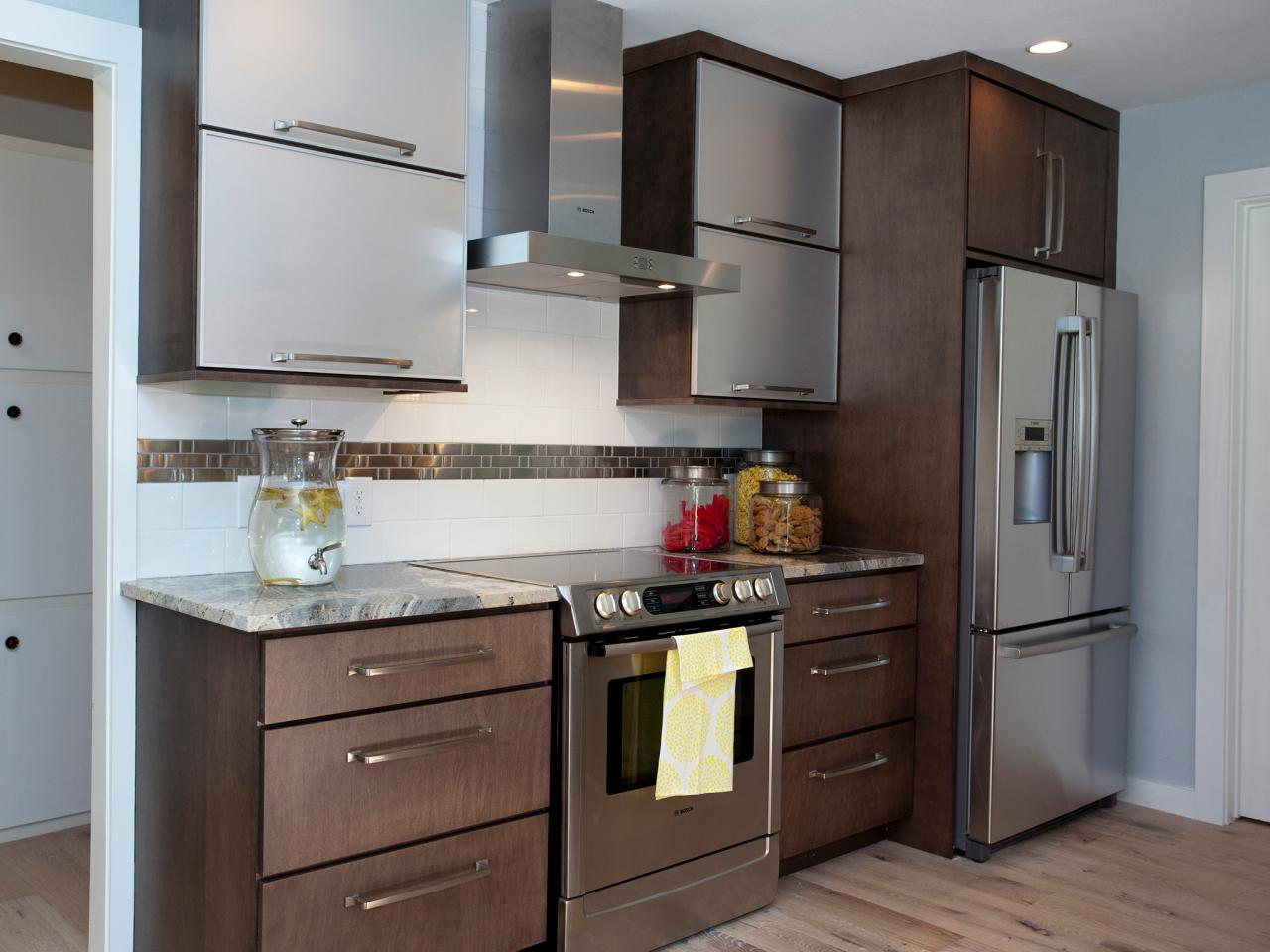 cool design of the stainless steel kitchen cabinets with brown rh cransten com Glass Kitchen Cabinet Door Styles Vintage Metal Kitchen Cabinet